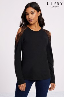 Lipsy Lace Insert Long Sleeve Top