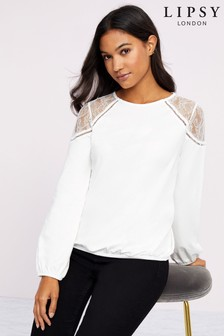 Lipsy Lace Shoulder Bubble Hem Top