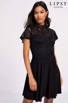 Lipsy Guippure Lace Slinky Skater Dress