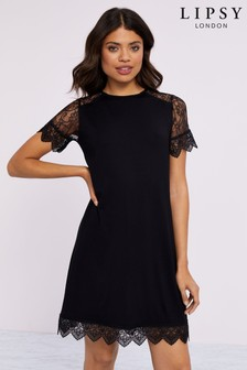 Lipsy Jersey Lace Shift Dress