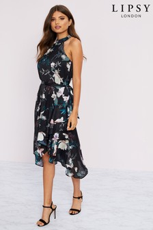 Lipsy Printed Halter Fit And Flare Dress