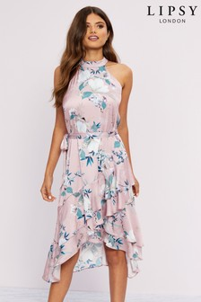 Lipsy Lotus Print Halter Tie Frill Midi Dress