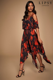 Lipsy Printed Pleated Coldshoulder Midi Dress