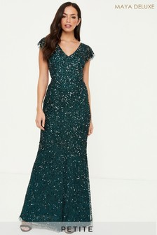 Maya Petite All Over Embellished Flutter Sleeve Maxi Dress