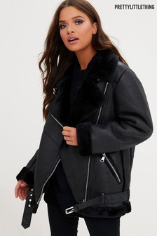 PrettyLittleThing PU Aviator Jacket
