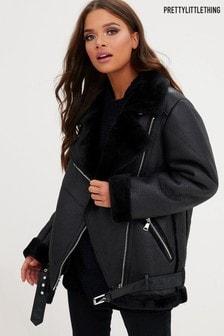 Полиуретановая куртка-авиаторPrettyLittleThing