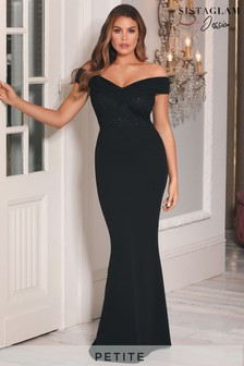 Sistaglam Loves Jessica Petite Bardot 2 in 1 Maxi Dress