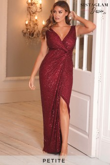 Sistaglam Loves Jessica Petite Stretch Sequin Wrap Maxi Dress