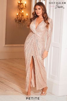 Sistaglam Loves Jessica Petite Stretch Sequin Wrap Maxi Dress