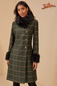 Joe Browns Faux Fur Collar Check Coat