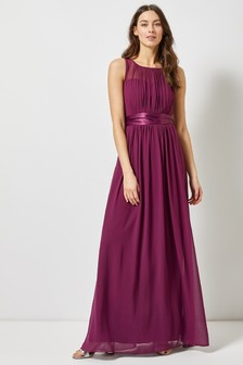Dorothy Perkins Pleated Chiffon Maxi Dress With Satin Bow