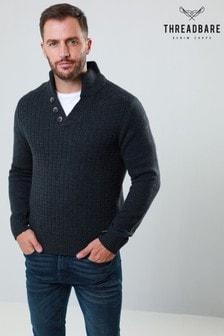 Threadbare Textured Knit Button Neck Jumper