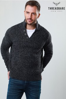 Threadbare Textured Knit Button Neck Jumper