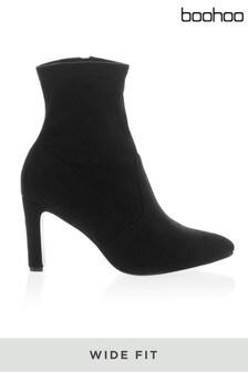 Boohoo Wide Fit Heel Sock Boots