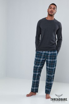 Threadbare Jersey Check Print PJ Set