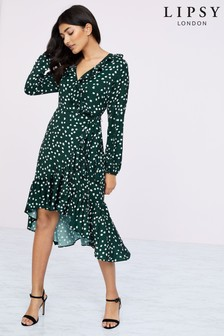 Lipsy Wrap Ruffle Midi Dress