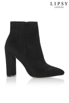 Lipsy Almond Toe Ankle Block Heel Boots