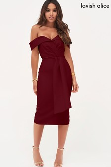 Lavish Alice Pleated Bardot Draped Belt Midi Dress