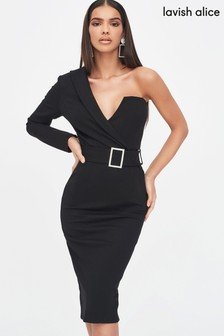 Lavish Alice One Sleeve Tux Midi Dress