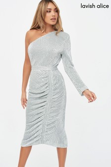 Lavish Alice One Sleeve Sequin Midi Dress