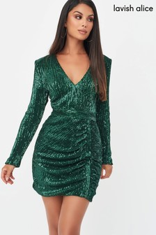 Lavish Alice Pleated Sequin Mini Dress