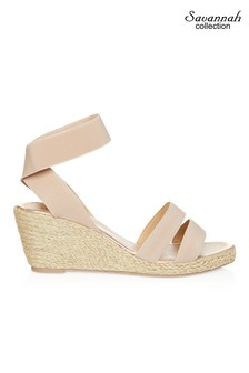 Savannah Double Strap Elastic Low Wedges