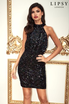 Lipsy Sequin Halterneck Dress
