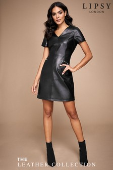 Lipsy Leather V neck Shift Dress
