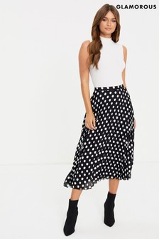 Glamorous Polka Dot Pleated Midi Skirt