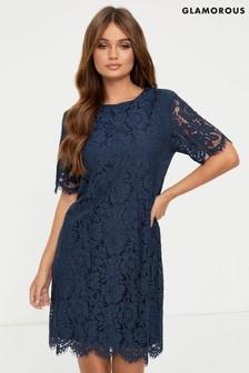 Кружевное расклешенное платье Glamorous