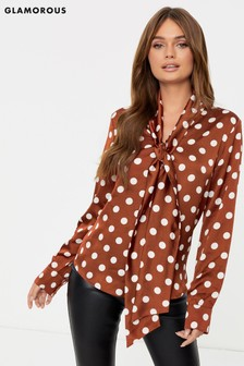 Glamorous Pussybow In Spot Blouse
