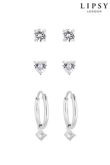Lipsy 925 Sterling Silver Solitaire Charmed Hoop Earrings - 3 Pack