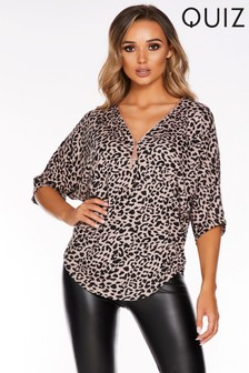Quiz Leopard Print Knitted Jumper