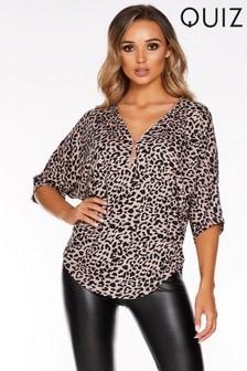 Quiz Leopard Print Knitted Jumper