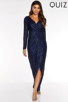 Quiz Sequin Long Sleeve Dress