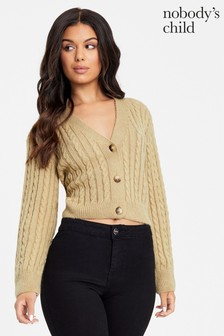 Nobody's Child Crop Cable Cardigan