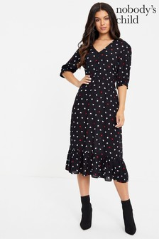 Nobody's Child Polka Dot Frill Midi Tea Dress