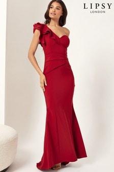 Lipsy Printed One Shoulder Maxi Dress