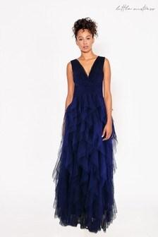 Little Mistress Bridesmaid Leonora Ruffle Mesh Maxi Dress