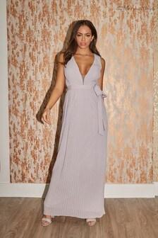 Little Mistress Bridesmaid Kellie Plunge Pleated Maxi Dress
