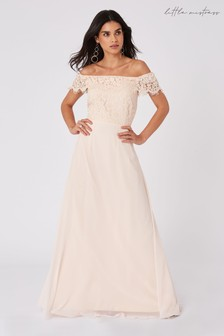 Little Mistress Bridesmaid Alexia Lace Bardot Maxi Dress