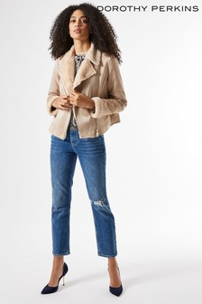 Dorothy Perkins Short Shearling Biker Jacket