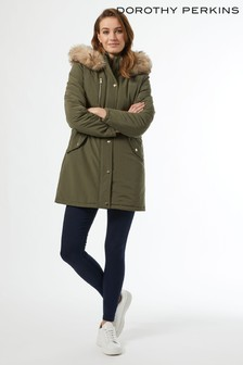 Dorothy Perkins Luxe Faux Fur Trim Parka Coat