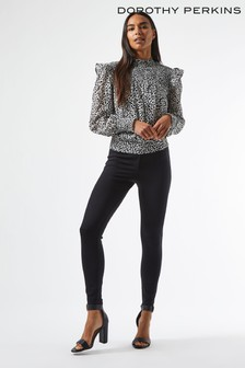Dorothy Perkins Tie Back Dalmation Long Sleeve Top