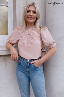 Love & Roses Lace Insert Jersey High Neck Top