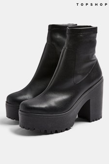 Topshop PU Heeled Sock Boot