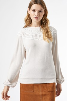 Dorothy Perkins  Lace Trim Brushed Top
