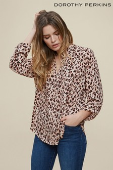 Dorothy Perkins Animal Roll Sleeve Shirt