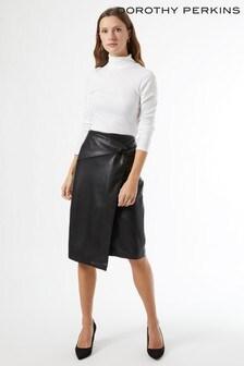 Dorothy Perkins Side Knot PU Midi Skirt