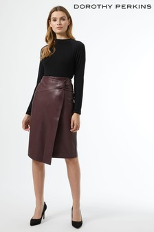 Dorothy Perkins Side Knot Pu Midi Skirt